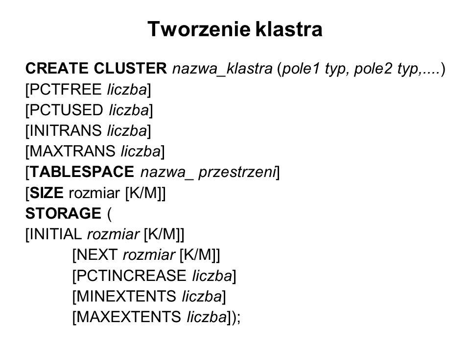 Tworzenie klastra CREATE CLUSTER nazwa_klastra (pole1 typ, pole2 typ,....) [PCTFREE liczba] [PCTUSED liczba]
